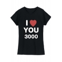 Popular Heart Letter I LOVE YOU 3000 Short Sleeve Fitted Tee