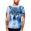 Trend Blue Wolf 3D Print Round Neck Short Sleeve Slim Fit T-Shirt for Men