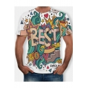 New Stylish Summer Letter BEST Print Round Neck Short Sleeve White Graphic Tee for Men