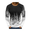Summer Men's Fashion Fitness Ombre Camo Print Round Neck Long Sleeve Slim Fit T-Shirt