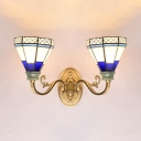 Tiffany Style Vintage Sconce Light Cone 2 Lights Stained Glass Wall Light for Dining Room