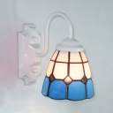 Mediterranean Style Sconce Light Dome Shade 1 Light Stained Glass Wall Lamp for Bathroom