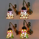 Restaurant Flower/Peacock Tail Sconce Light Stained Glass Tiffany Style Rustic Wall Light with Mermaid