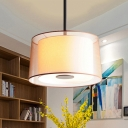 Simple Style Drum Chandelier Fabric & Metal 3 Light White Ceiling Lamp for Kitchen Hallway