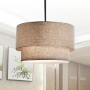 Beige/Black/White Drum Chandelier 3 Lights Rustic Style Fabric Suspension Light for Kitchen