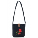 Trendy Floral Embroidery Pattern Canvas Crossbody Cell Phone Purse 16*5*18 CM