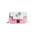 Trendy Balloon Bow Embroidery Pattern PU Crossbody Sling Bag 18*6*13 CM