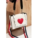 Stylish Red Heart Patched Bow Handle Striped Strap Crossbody Shoulder Bag 18*6*14 CM