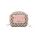 Cute Cartoon Patched Letter Print Crossbody Bag with Chain Strap 17*6*15 CM