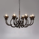 Industrial Black Chandelier 8 Lights Metal Chandelier Lamp for Living Room