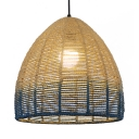 Blue Cone Shade Hanging Light Modern Simple Straw Rope 1 Bulb Pendant Lamp, 13