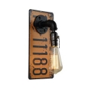 Industrial Sconce Light with License Plate Decoration Single Light Wall Light for Hallway