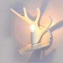 Vintage Deer Horn Wall Sconce Metal Single Light White Wall Light for Bar Restaurant