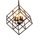 Metal Wire Frame Ceiling Light 4 Lights Vintage Chandelier in Black for Dining Room