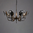 Antique Candle Chandelier Metal 6 Lights Bronze Chandelier Lighting for Dining Room