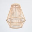 Dining Room Ceiling Light with Shape Rattan Single Light Pendant Lighting in Beige