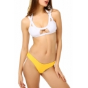 Cool White Hollow Out Halter Neck Top with Yellow Basic Bottom Bikini Swimwear
