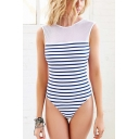 New Trendy Striped Printed Low Back Womens Slim Fit Blue One Piece Swimsuit Swimwear