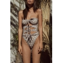 Womens New Trendy Polka Dot Printed Cutout Knotted Front One Piece Swimsuit Swimwear