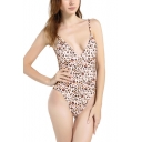 Trendy Khaki Leopard Printed Plunged Neck Open Back High Leg One Piece Swimsuit for Women