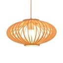 Single Light Lantern Shape Ceiling Light Antique Style Bamboo Pendant Lighting in Beige for Dining Room