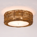 Rustic Style Brown Ceiling Light Fixture with Drum Shape Single Light Bamboo Flush Mount Light for Indoor