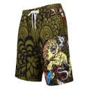 Summer Men's Fashion Animal Printed Drawstring Waist Mesh Panel Inside Quick Dry Beach Swim Trunks