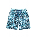 New Fashion Blue Letter Graffiti Drawstring Waist Mens Quick Dry Swim Trunks