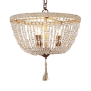 Dome Shape Chandelier Rope and Clear Crystal Beads 3 Lights Vintage Style Pendant Lamp for Living Room Bedroom