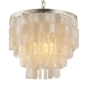 Metal and Shell Circle Pendant Lighting Living Room Single Light Modern Chandelier Light in White