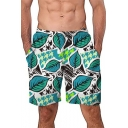 Summer Stylish Green Leaf Printed Loose Casual Beach Board Shorts Swim Trunks