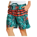 Summer Vintage Pattern Pocket Side Men's Holiday Beach Swim Trunks with Liner