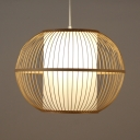 Rattan Lantern Shape Ceiling Fixture Single Light Rustic Style Ceiling Light Fixture in Beige for Coffee Shop