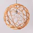 Antique Style Globe Shape Ceiling Light Fixture Bamboo Single Bulb Beige Pendant Lamp