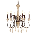 6 Lights Candle Shape Chandelier Light Rustic Style Metal and Wood Pendant Lamp for Foyer Hallway