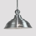 Nickle Dome Hanging Light Single Light Industrial Metal Pendant Lighting for Study Room