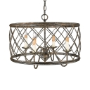 Silver Leaf Candle Pendant Light with Metal Drum Shade 4 Lights Rustic Drop Ceiling Light with Hanging Chain