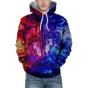 New Fashion Blue and Red Fire Wolf Printed Sport Loose Unisex Hoodie