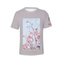 New Trendy Floral Printed Basic Short Sleeve Summer Grey T-Shirt