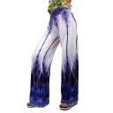 Trendy Blue Peacock Feather Printed Costume Palazzo Wide-Leg Pants