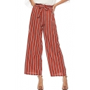 Summer Trendy Red Vertical Stripe Printed Tied Front High Rise Wide-Leg Pants for Women