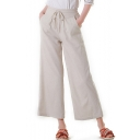 Hot Fashion Womens Solid Color Tied Waist Linen Cropped Wide Leg Pants