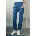 Summer Women's Comfort Linen Solid Color Drawstring Waist Casual Loose Lounge Pants