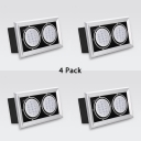 (4 Pack)2/3 Lights Rectangle Recessed Light Angle Adjustable LED Light Fixture Recessed in Warm/White