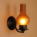 Single Light Vase Shape Wall Light Antique Style Amber/Frost Glass Sconce Light for Dining Room