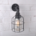 Antique Black Sconce Wall Light with Wire Cage Single Light Metal and Clear/Blue Glass Wall Lamp for Bar