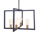 Industrial Rectangle Chandelier 4 Lights Metal Hanging Light in Black for Kitchen Dining Room