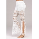 Women's Hot Fashion Sexy Lace Panel Slit Side Flared Pants
