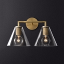 Vintage Style Cone Wall Lamp Metal Glass 2 Lights Brass/Chrome/Black Wall Light for Bar Restaurant