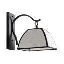 1 Light Hanging Wall Light with White Shade Vintage Style Metal Sconce Light in Black for Living Room